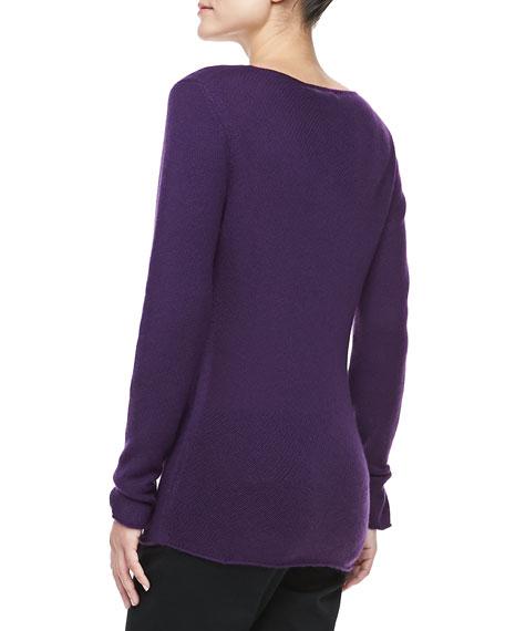 Bias-Knit Cashmere Sweater, Blackberry