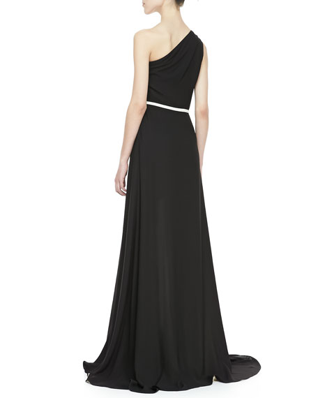 Two-Tone Ruffled One-Shoulder Gown
