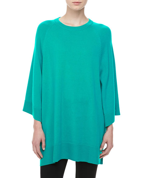 Cashmere Scoop-Neck Poncho, Sky