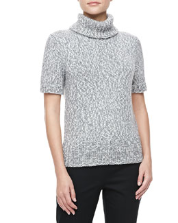 Michael Kors Marled Short-Sleeve Turtleneck, Banker Multi
