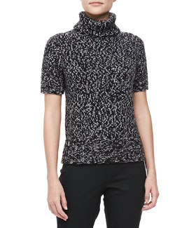 Michael Kors Marled Short-Sleeve Turtleneck, Banker