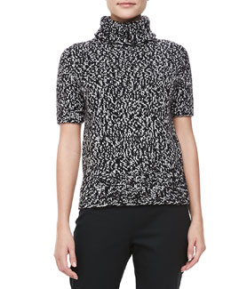 Michael Kors SHMarled Short-Sleeve Turtleneck, Black/Ivory