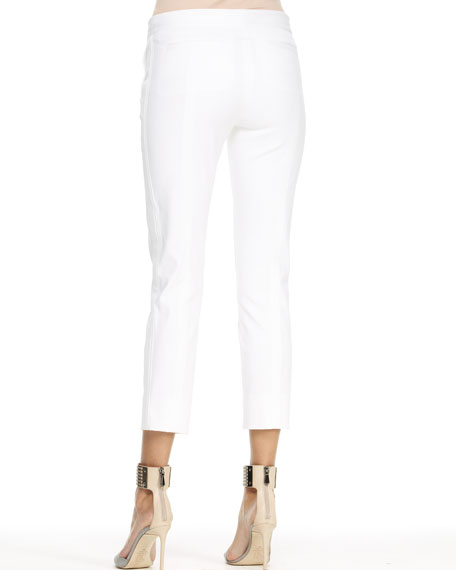 Tuxedo-Stripe Capri Pants