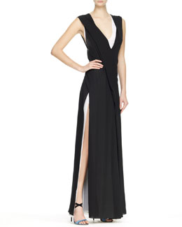 Reed Krakoff Bicolor V-Neck Gown