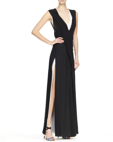 Bicolor V-Neck Gown