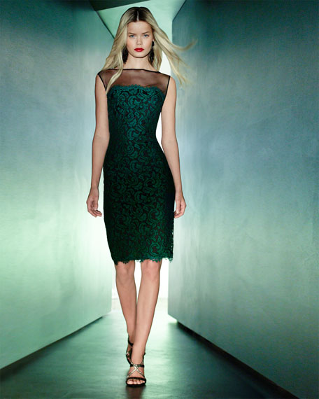 Illusion-Neck Lace Overlay Cocktail Dress