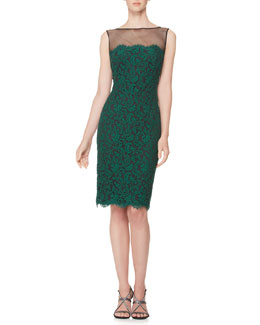 Tadashi Shoji Illusion-Neck Lace Overlay Cocktail Dress