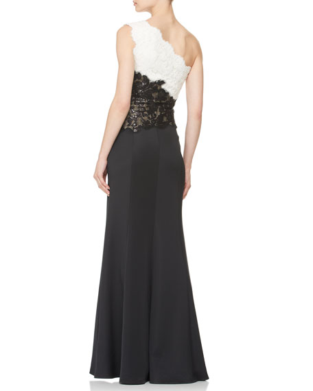 One-Shoulder Two-Tone Lace-Bodice Gown
