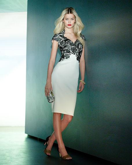 Short-Sleeve Lace-Bodice Cocktail Dress