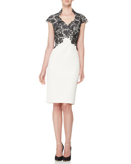 Tadashi Shoji Short-Sleeve Lace-Bodice Cocktail Dress