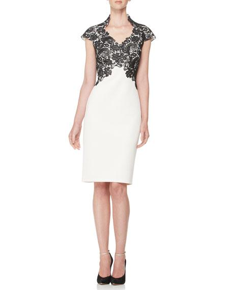 Short-Sleeve Lace-Bodice Cocktail Dress