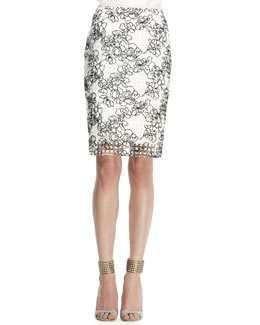 Reed Krakoff Embroidered Grid Pencil Skirt