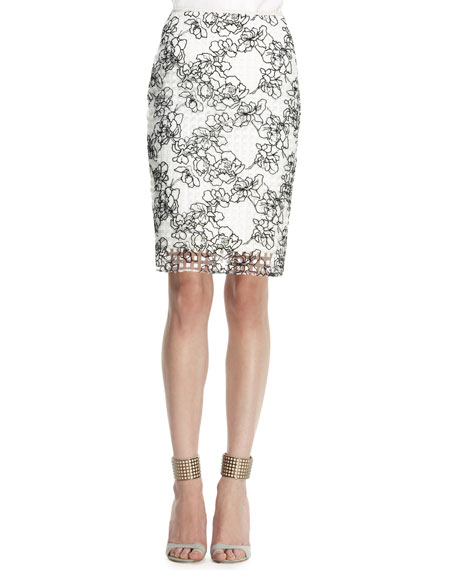 Embroidered Grid Pencil Skirt