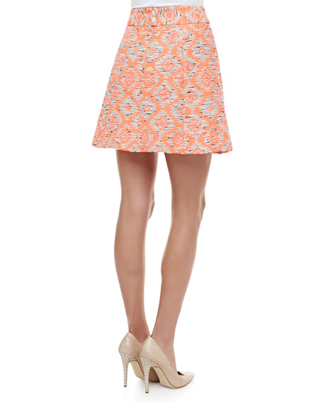 Wildcat Tribal-Print Pleated Peplum Skirt