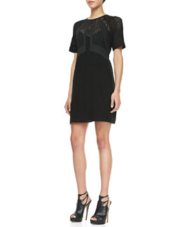 Nanette Lepore Nomad Lace-Overlay Dress, Black