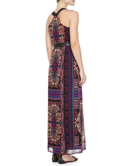 Sun Dance Leather-Trim Maxi Dress