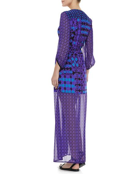 Sheer-Sleeve/Skirt Dress, Violet Multicolor