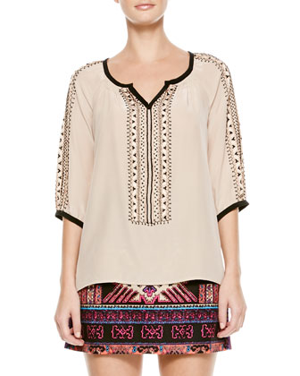 Tipis Embroidered Contrast-Trim Top