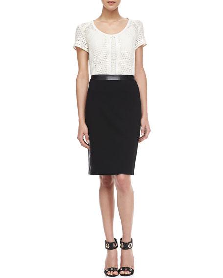 Thunder Leather-Trim Skirt