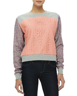 Rebecca Minkoff McCall Mixed-Media Sweatshirt