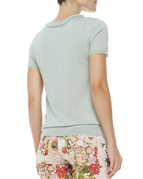 Michaela Short-Sleeve Cashmere Sweater, Desert Green