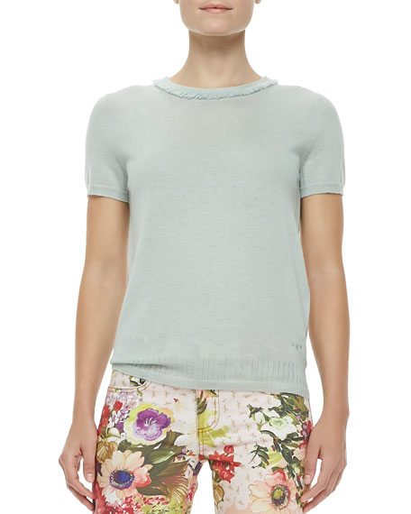 Michaela Short-Sleeve Cashmere Sweater, Desert Green