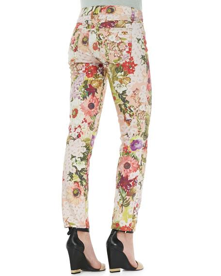 Five-Pocket Floral Print Jeans, Multicolor