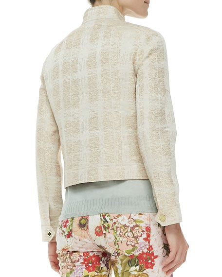 Larissa Tweed Button Collar Jacket, Ivory
