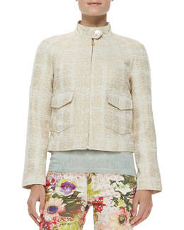 Tory Burch Larissa Tweed Button Collar Jacket, Ivory