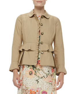 Tory Burch Delia Ruffled Cotton Jacket