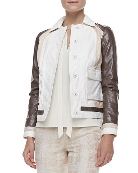 Deena Mixed-Leather Jacket