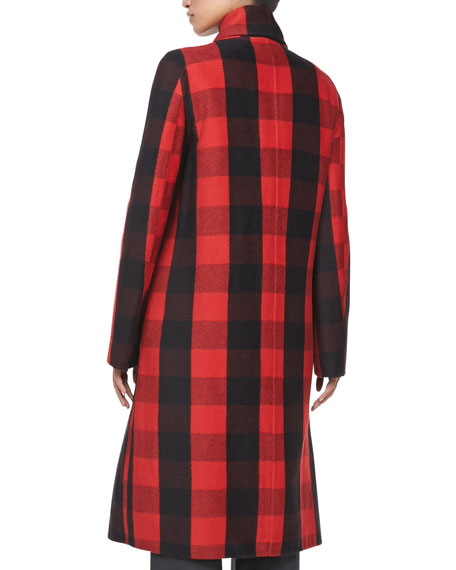 Buffalo Plaid Fringe-Trim Coat