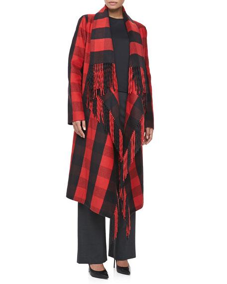 Buffalo Plaid Fringe-Trim Coat