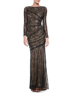Carmen Marc Valvo Long Sleeve Lace Sequin Gown