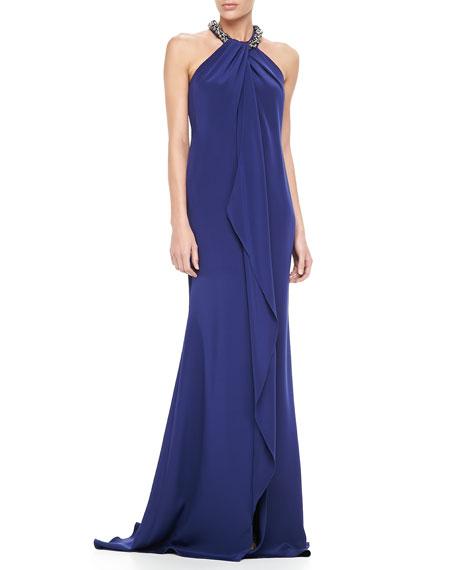 Embellished-Neck Halter Gown