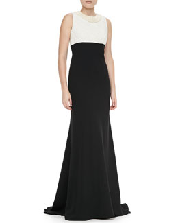 Carmen Marc Valvo Pearl Neck Two-Tone Gown