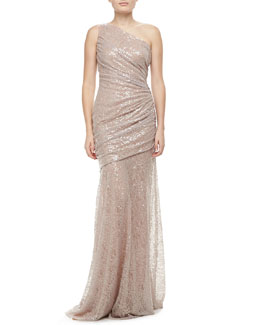 Carmen Marc Valvo One-Shoulder Sequin Gown