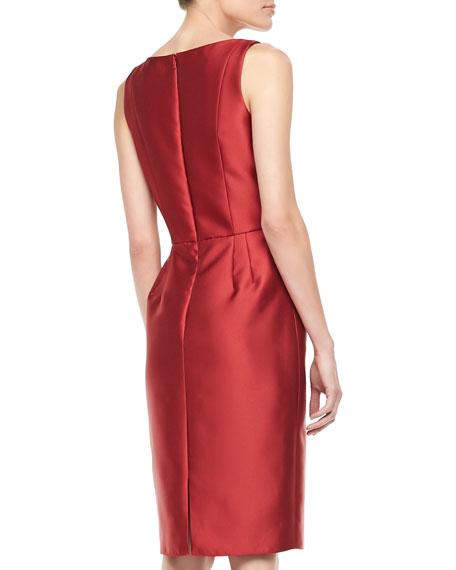 Sleeveless Ruffle-Waist Cocktail Dress, Red