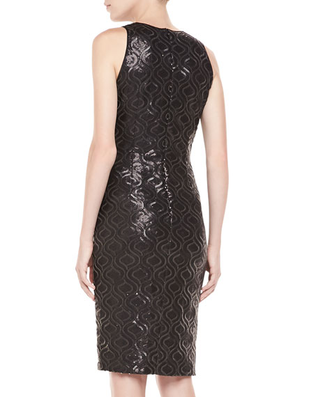 Sleeveless Sequin & Lace Cocktail Dress