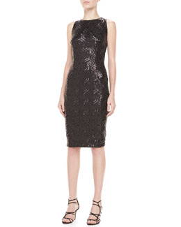 Carmen Marc Valvo Sleeveless Sequin & Lace Cocktail Dress