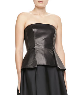 Carmen Marc Valvo Leather Peplum Bustier