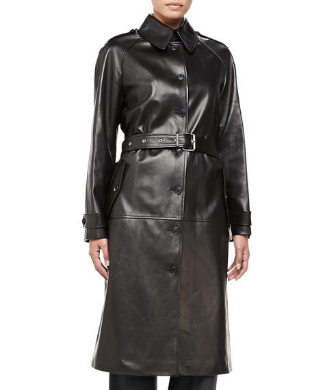Fur-Collar Plonge Calfskin Leather Trench