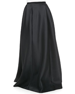 Carmen Marc Valvo Satin Ball Skirt, Black