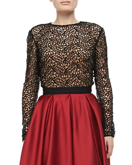 Carmen Marc Valvo Long-Sleeve Lace Top