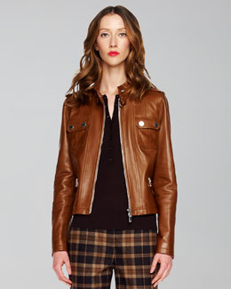 Michael Kors Leather Motorcycle Jacket