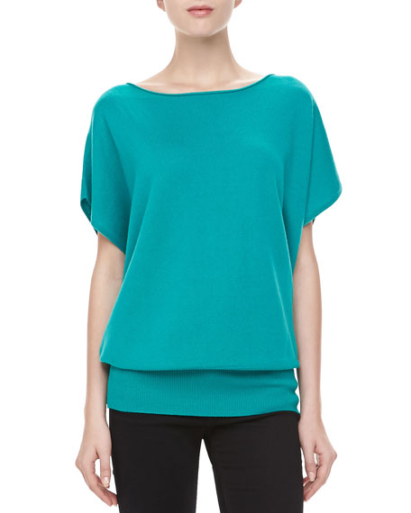 Boat-Neck Cashmere Top, Turquoise