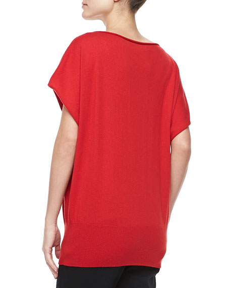 Boat-Neck Cashmere Top, Crimson