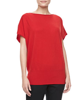 Michael Kors Boat-Neck Cashmere Top, Crimson