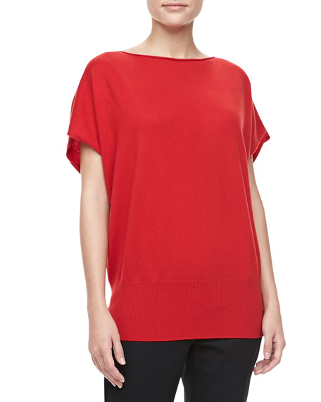 Boat-Neck Cashmere Top, Crimson