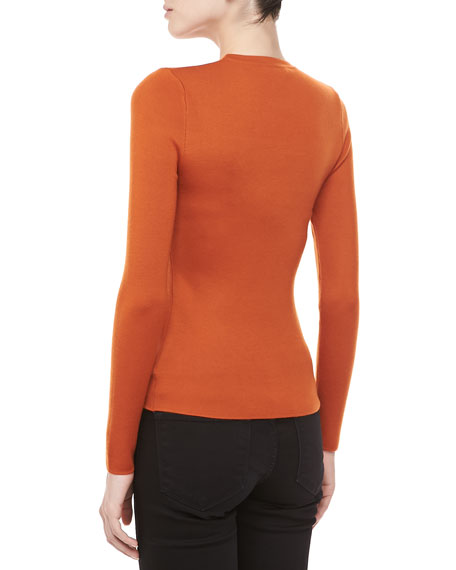 Long-Sleeve Cashmere Sweater, Paprika